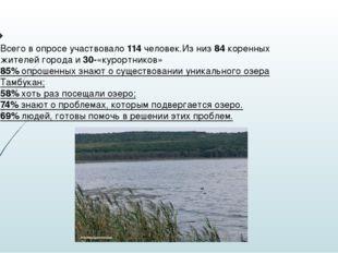 Всего в опросе участвовало 114 человек.Из низ 84 коренных жителей города и 30