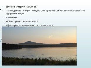 Цели и задачи работы: -исследовать озеро Тамбукан,как природный объект и как
