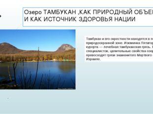 Озеро ТАМБУКАН ,КАК ПРИРОДНЫЙ ОБЪЕКТ И КАК ИСТОЧНИК ЗДОРОВЬЯ НАЦИИ . Тамбукан