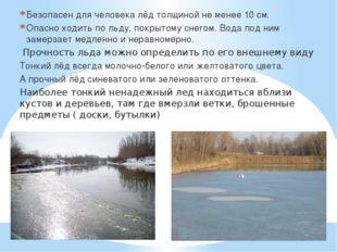 Безопасен для человека лёд толщиной не менее 10 см. Опасно ходить по льду, п