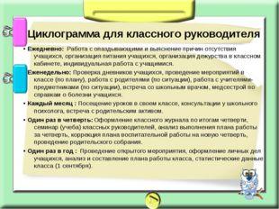 • Ежедневно: Работа с опаздывающими и выяснение причин отсутствия учащихся, о