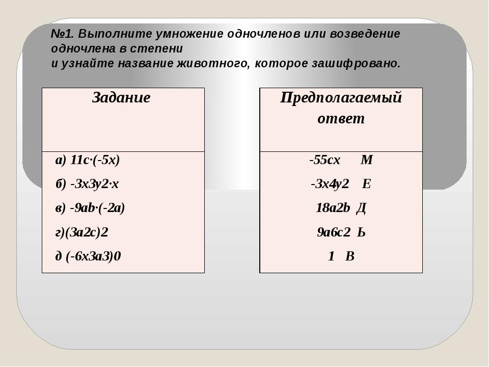 №1. Выполните умножение одночленов или возведение одночлена в степени и узнай...
