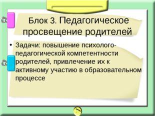 Задачи: повышение психолого-педагогической компетентности родителей, привлече