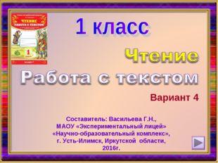 Вариант 4 Составитель: Васильева Г.Н., МАОУ «Экспериментальный лицей» «Научно