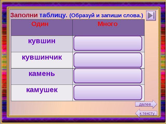 Заполни таблицу. (Образуй и запиши слова.) к тексту далее Один Много кувшин...