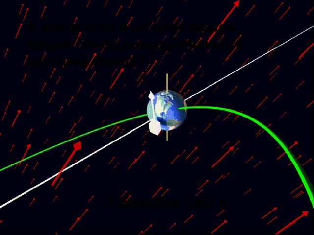 В каком году был произведен запуск первого искусственного спутника Земли? 4...