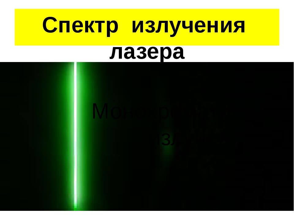 Спектр излучения лазера Монохроматическое излучение