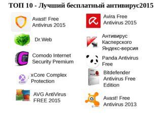Avast! Free Antivirus 2015 Dr.Web Comodo Internet Security Premium xCore Comp