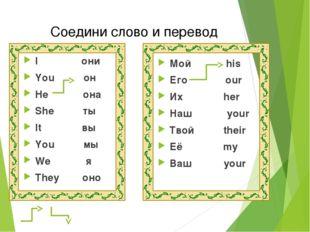 I они You он He она She ты It вы You мы We я They оно Мой his Его our Их her