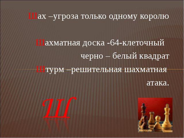 Шах –угроза только одному королю  Шахматная доска -64-клеточный черно – белы...