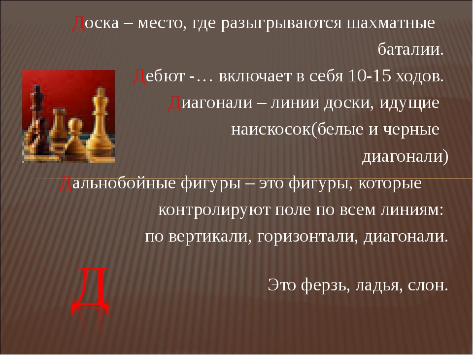 Доска – место, где разыгрываются шахматные баталии. Дебют -… включает в себя...
