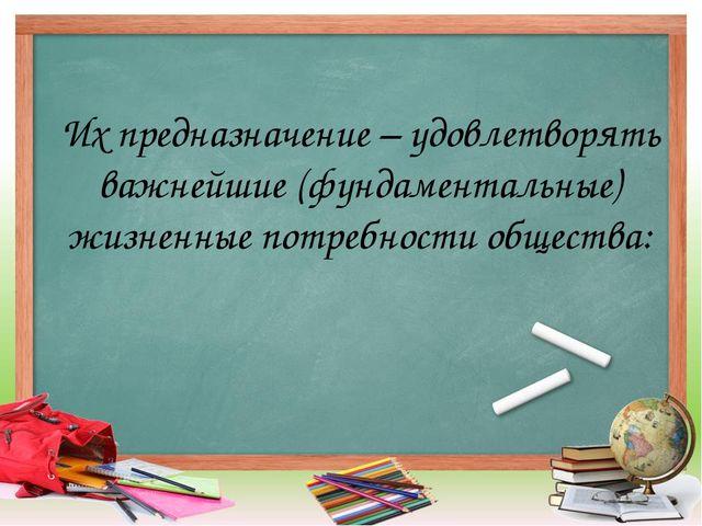 Их предназначение – удовлетворять важнейшие (фундаментальные) жизненные потре...
