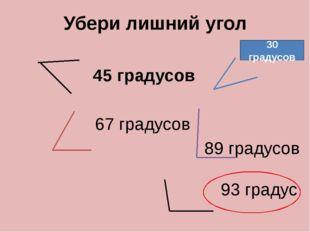 Убери лишний угол 45 градусов 67 градусов 89 градусов 93 градус 30 градусов