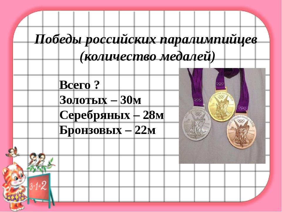 Победы российских паралимпийцев (количество медалей) Всего ? Золотых – 30м С...