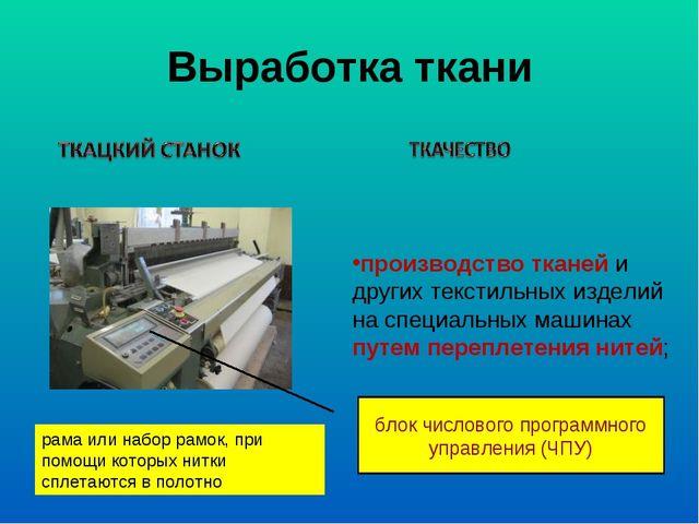 Выработка ткани производство тканей и других текстильных изделий на специальн...