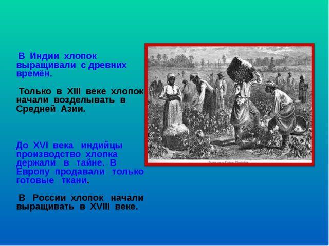 В Индии хлопок выращивали с древних времён. Только в XIII веке хлопок начали...