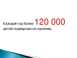 Каждый год более 120000 детей подвергаются насилию.