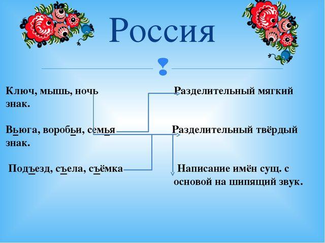 Россия Ключ, мышь, ночь Разделительный мягкий знак. Вьюга, воробьи, семья Раз...