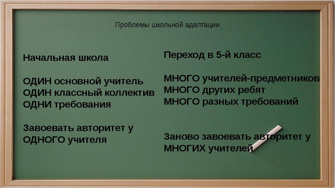 Проблемы школьной адаптации Начальная школа ОДИН основной учитель ОДИН класс...