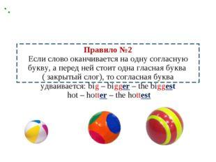 Правило №2 Если слово оканчивается на одну согласную букву, а перед ней стоит