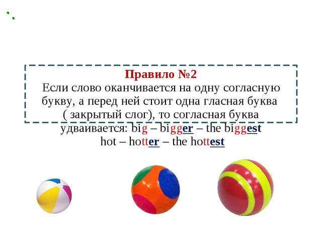 Правило №2 Если слово оканчивается на одну согласную букву, а перед ней стоит...