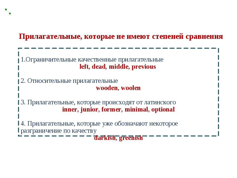 1.Ограничительные качественные прилагательные left, dead, middle, previous 2...