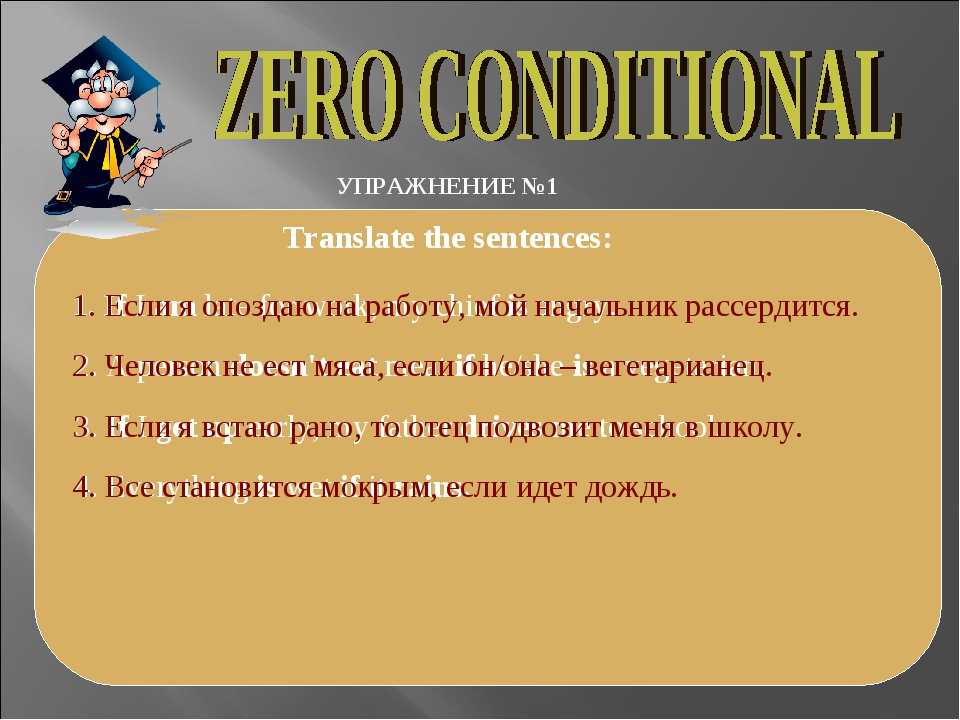 УПРАЖНЕНИЕ №1 Translate the sentences: 1. If I am late for work, my chief is...