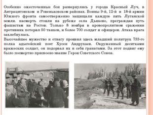 Особенно ожесточенные бои развернулись у города Красный Луч, в Антрацитовском