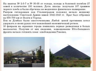 На шахтах № 2-3-7 и № 30-35 от голода, холода и болезней погибли 27 семей в к