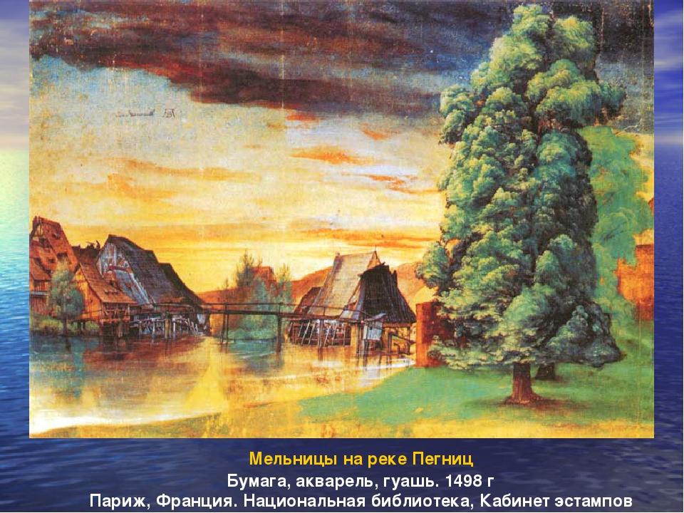 Мельницы на реке Пегниц Бумага, акварель, гуашь. 1498 г Париж, Франция. Нацио...
