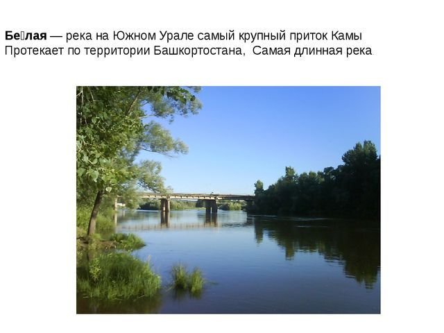 Бе́лая— река наЮжном Уралесамый крупный притокКамы Протекает по территор...