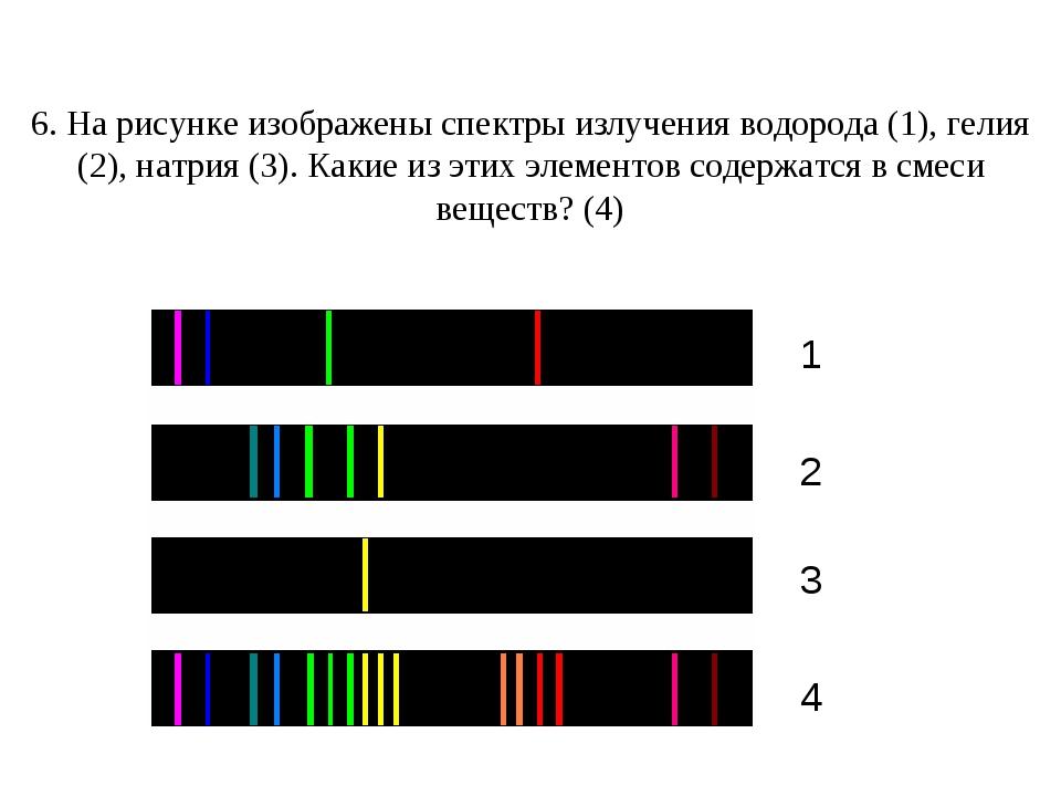 6. На рисунке изображены спектры излучения водорода (1), гелия (2), натрия (...