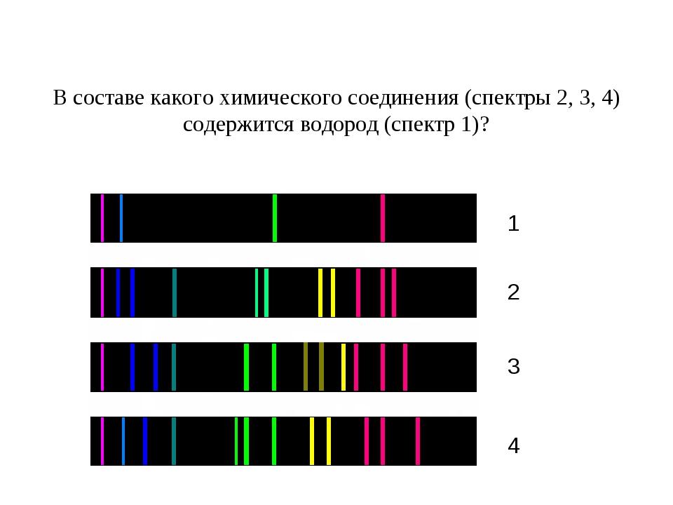 В составе какого химического соединения (спектры 2, 3, 4) содержится водород...