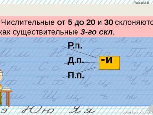 Р.п. Д.п. П.п. -и Числительные от 5 до 20 и 30 склоняются как существительны