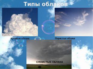Перистые облака Кучевые облака СЛОИСТЫЕ ОБЛАКА