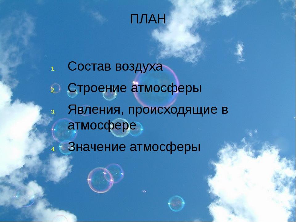 ПЛАН Состав воздуха Строение атмосферы Явления, происходящие в атмосфере Знач...