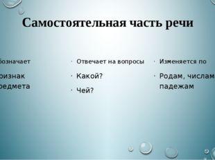 Самостоятельная часть речи Обозначает Признак предмета Отвечает на вопросы Ка