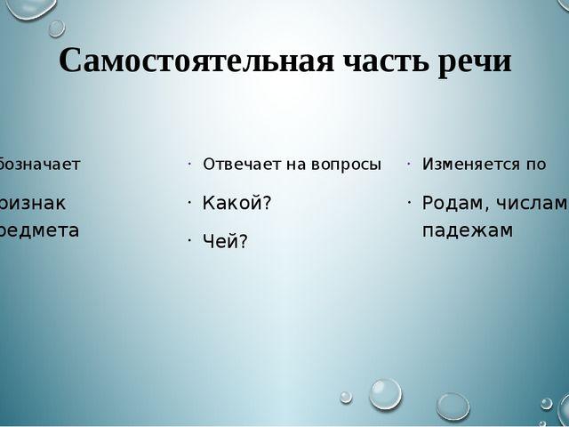 Самостоятельная часть речи Обозначает Признак предмета Отвечает на вопросы Ка...
