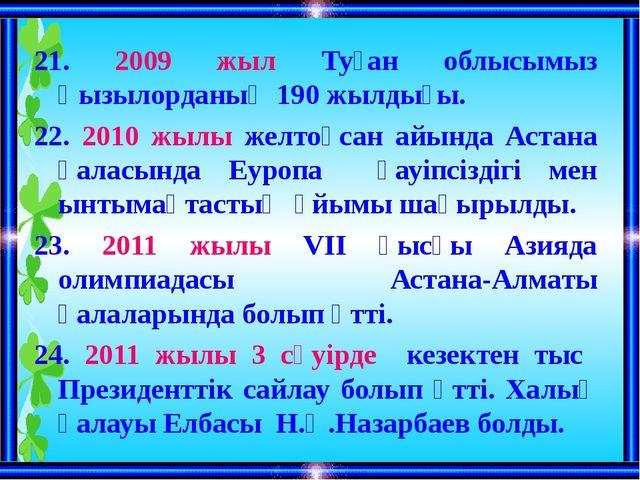 21. 2009 жыл Туған облысымыз Қызылорданың 190 жылдығы. 22. 2010 жылы желтоқса...