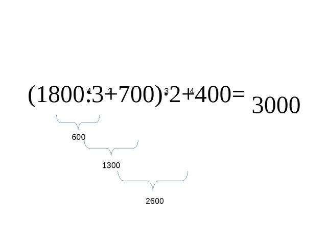 (1800:3+700)·2+400= 1 2 3 4 600 1300 2600 3000