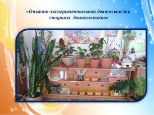«Опытно-экспериментальная деятельность старших дошкольников» «»
