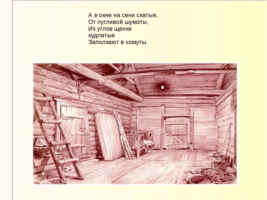 А в окне на сени скатые, От пугливой шумоты, Из углов щенки кудлатые Заползаю...