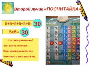 5+5+5+5+5+5= 5х6= . Что такое умножение? Этот умное сложение. Ведь умней умн