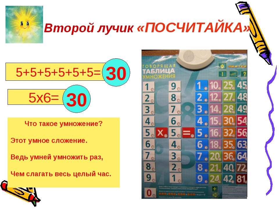 5+5+5+5+5+5= 5х6= . Что такое умножение? Этот умное сложение. Ведь умней умн...