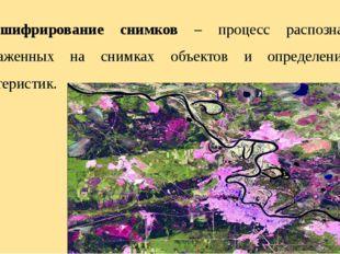 Дешифрирование снимков – процесс распознавания изображенных на снимках объект