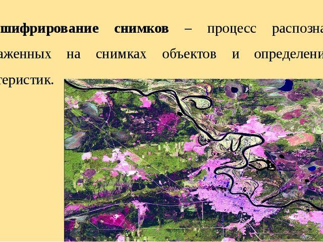 Дешифрирование снимков – процесс распознавания изображенных на снимках объект...
