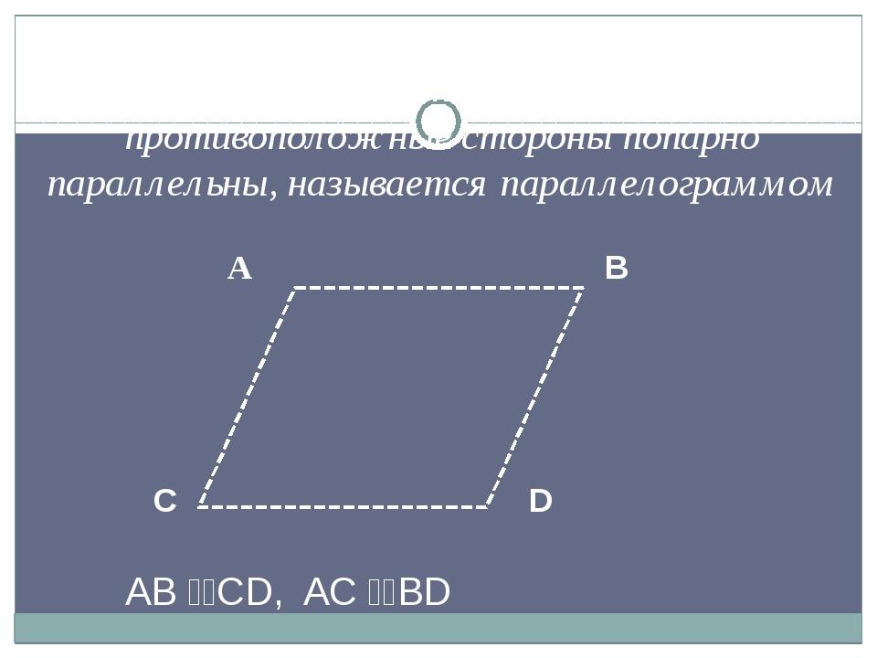 А B C D AB CD, AC BD Определение Четырехугольник, у которого противополо...