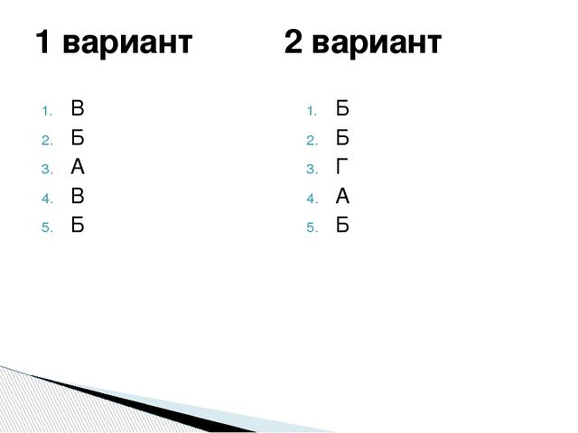 В Б А В Б Б Б Г А Б 1 вариант 2 вариант