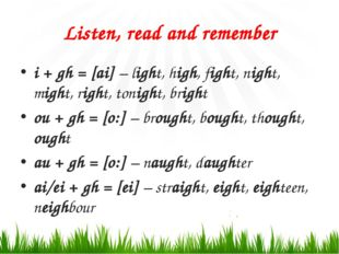 Listen, read and remember i + gh = [ai] – light, high, fight, night, might, r