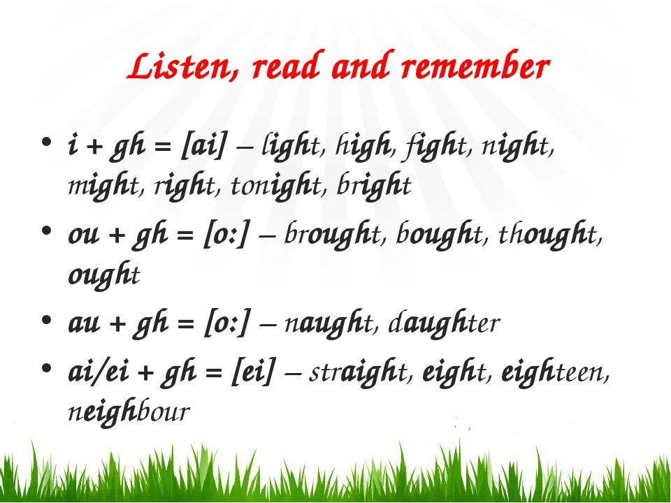 Listen, read and remember i + gh = [ai] – light, high, fight, night, might, r...
